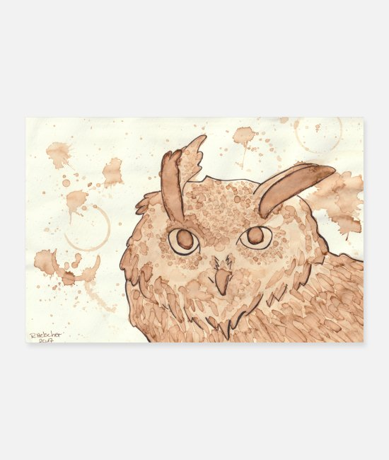 Coffee Bean Posters - owl - Posters white