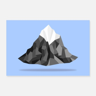 Geometric Floating polygon mountains - Poster