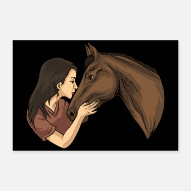 Movement Girl Kissing A Horse - Horse Riding Horse Riding - Poster