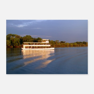 Tour Tour boat on the Zambezi river in Zambia - 30x20 cm Poster