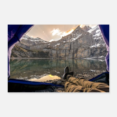 Feet Camping on the mountain lake - 30x20 cm Poster