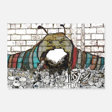 Caterpillar Caterpillars Always Sated Graffiti - Poster Gift Idea - 30x20 cm Poster