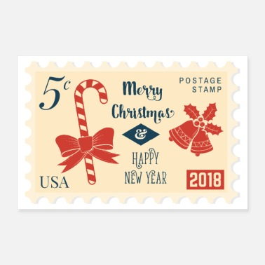 Stempel Stempel 5 cent Merry Christmas & Happy New Year - Poster 30x20 cm
