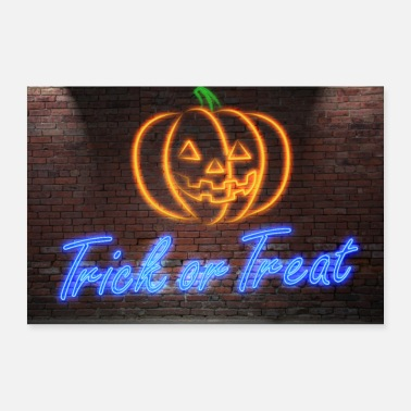Trick Or Treat Trick or Treat Neon Lettering on Brick Wall Poster - Poster 30x20 cm