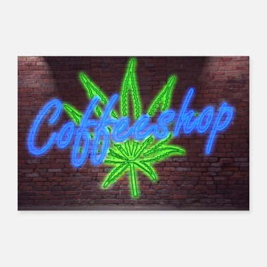 Coffeeshop Neon Lettering Coffeeshop on Brick Wall Poster - Poster