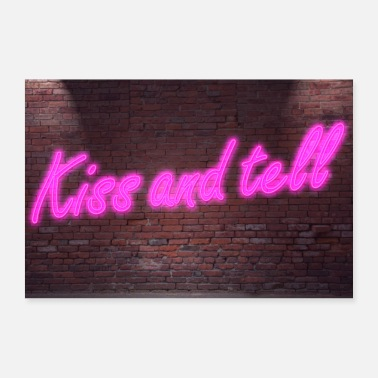 Neon Neon neon signs Kiss and tell poster - Poster
