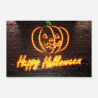Leuchtschrift Neon Lettering Happy Halloween on Brick Wall - Poster