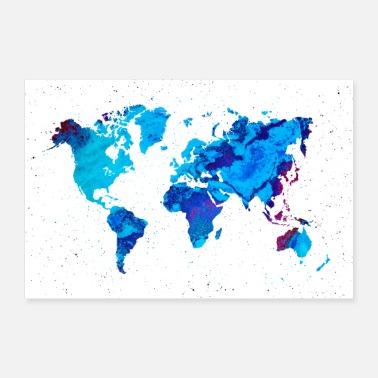 Map World map blue marble - Poster