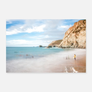 South Beach Beach Landscape Cornwall South England - Poster