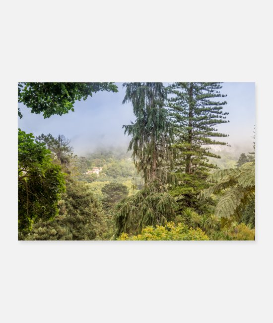 Mountains Posters - green forest garden nature poster Lisbon Portugal - Posters white