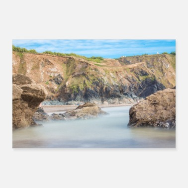 Uk Rock formation at Polurrian Bay Beach Mullion UK - Poster