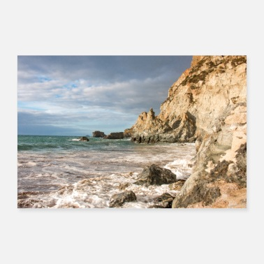 Agnes Trevaunance Cove at High Tide St Agnes Cornwall - Poster
