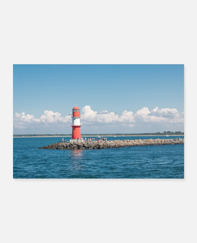 Building Posters - Red Lighthouse in Rostock Warnemünde Poster - Posters white