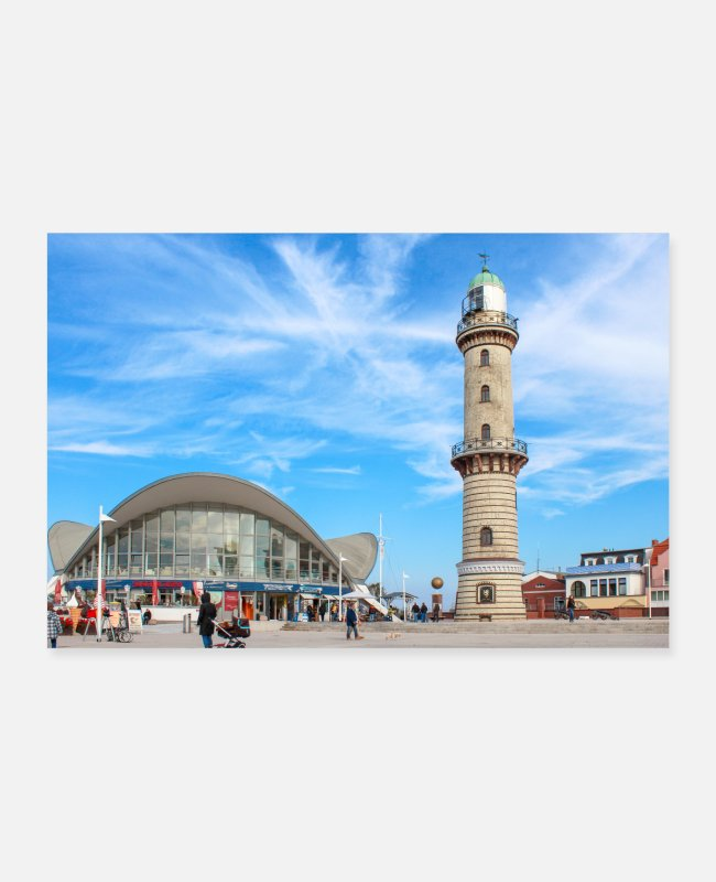 Weather Posters - Teepott and lighthouse Rostock Warnemünde - Posters white