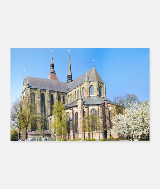 Building Posters - St. Mary's Church Rostock Poster - Posters white