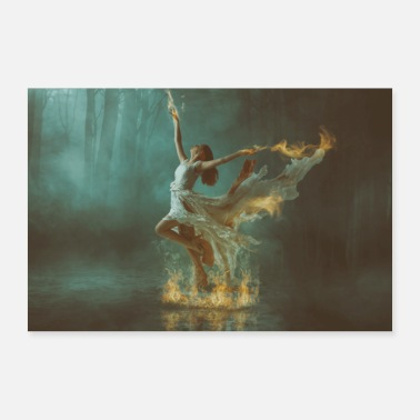 Dancing woman in the fire. Water, forest - 30x20 cm Poster