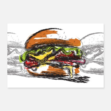 Hunger Hamburger-Padded Sandwich-Large Poster - 30x20 cm Poster