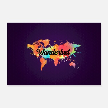 Wanderlust Vivid Watercolor Wanderlust World Map - Poster