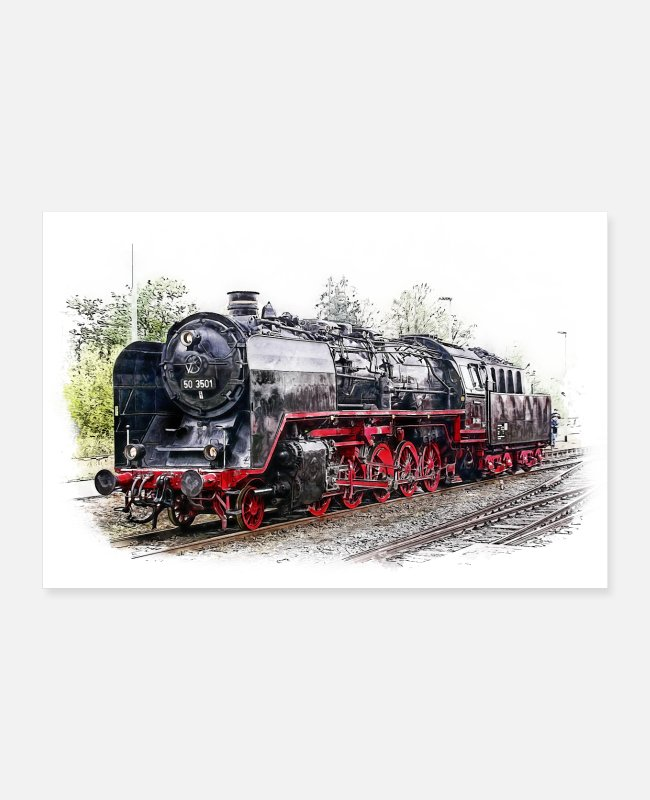 Rails Posters - Poster Stoomlocomotief 50 3501 - Posters wit