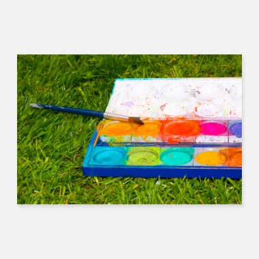 Paint Brush Paint box in the park. Brush in the wild. Photo. - Poster