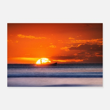 Sea Sunset fishing boat sea gifts - Poster