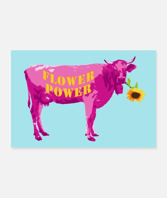 Muh Posters - Flower Power Cow in Magenta | poster - Posters white