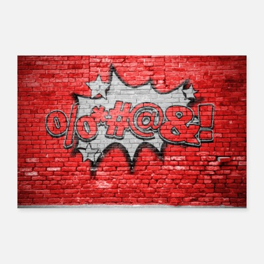 Vloek vloeken Comic brick wall graffiti - Poster