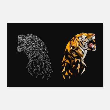 Animal Tiger Low Poly Animaux - Poster