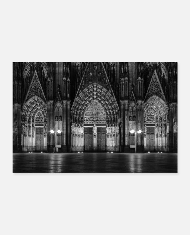 Cologne Cathedral Posters - Cologne Cathedral main entrance - Posters white