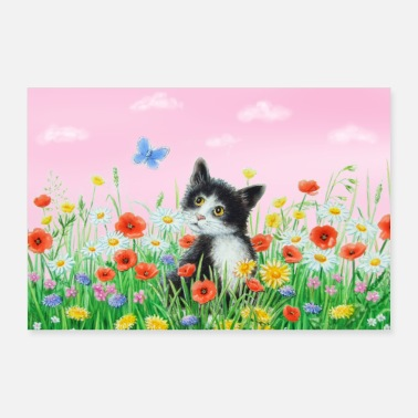 Bambini Katze in Blumenwiese - Poster