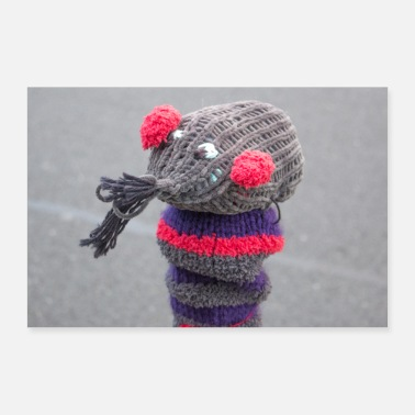 Urban Knitted wool rat urban decoration in Hameln Lower - Poster