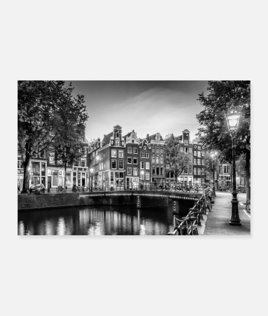 Zingel Posters - AMSTERDAM Evening Idyll at the Singel | monochroom - Posters wit