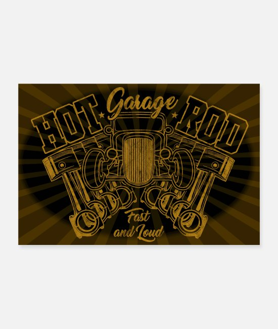 Classic Car Posters - Hot Rod Garage - Posters white