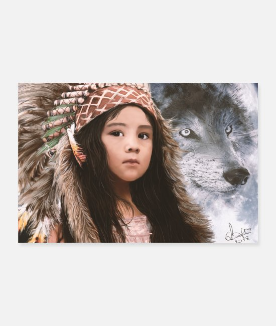 Nature Posters - Native Girl & Wolf - Posters white