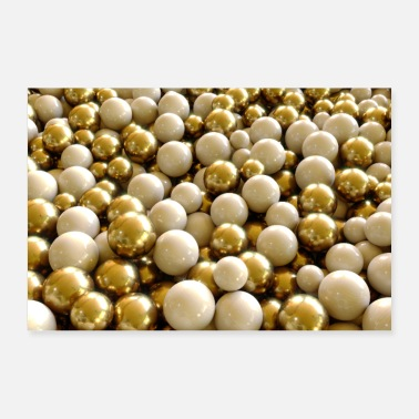 Wealthy abstract golden and white balls - Poster