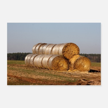 Manure Fork straw bales - Poster