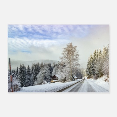 Creativelandscapepix Road in the snow - Poster