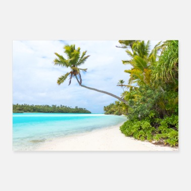 Aitutaki Lonely Island Beach and crystal clear Cook Island - Poster