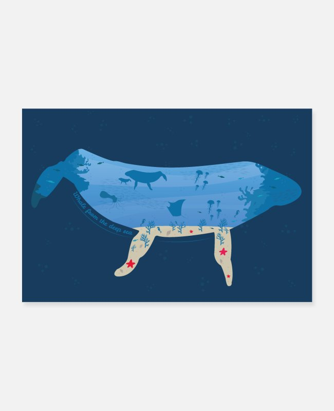 Water Posters - Whale from the deep sea poster - Posters white