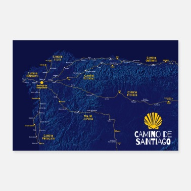 Stage Camino de Santiago Poster Way of St. James map stages - Poster