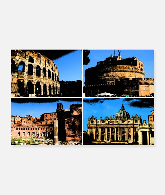 Italian Posters - Rome Roma collage comic sign lettering - Posters white