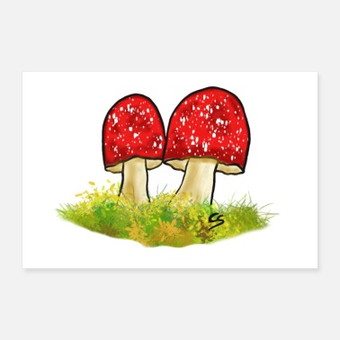 Raider Sweet toadstool airbrush motif mushrooms love - Poster