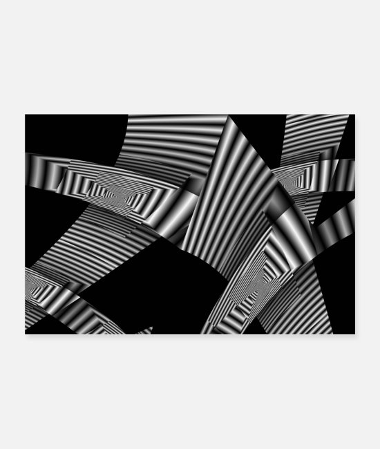 Pattern Posters - Monochrome folds poster - Posters white