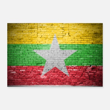 Drawing Painting Symbol Myanmar Flag Graffiti on Brick Wall - Poster