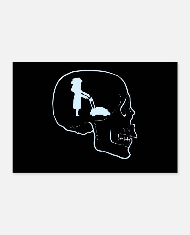 Hipster Posters - Florist Mow Mowing Skull Tattoo Skeleton Gardening - Posters white