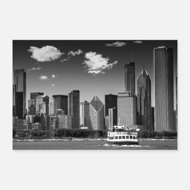 CHICAGO Skyline | Monochrome - Poster
