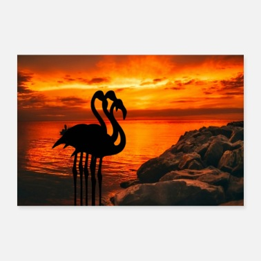 Artery Africa Art Flamingo Sea Sun Sunset - Poster