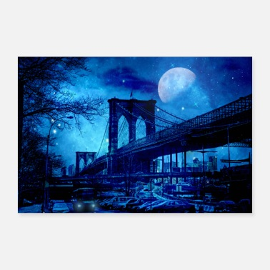 Moon Brooklyn Bridge New York Blue Art - 30x20 cm Poster