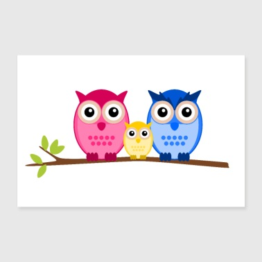 Owls perhe - Juliste 30x20 cm