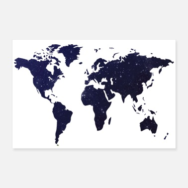 Poster World map night sky - 30x20 cm Poster